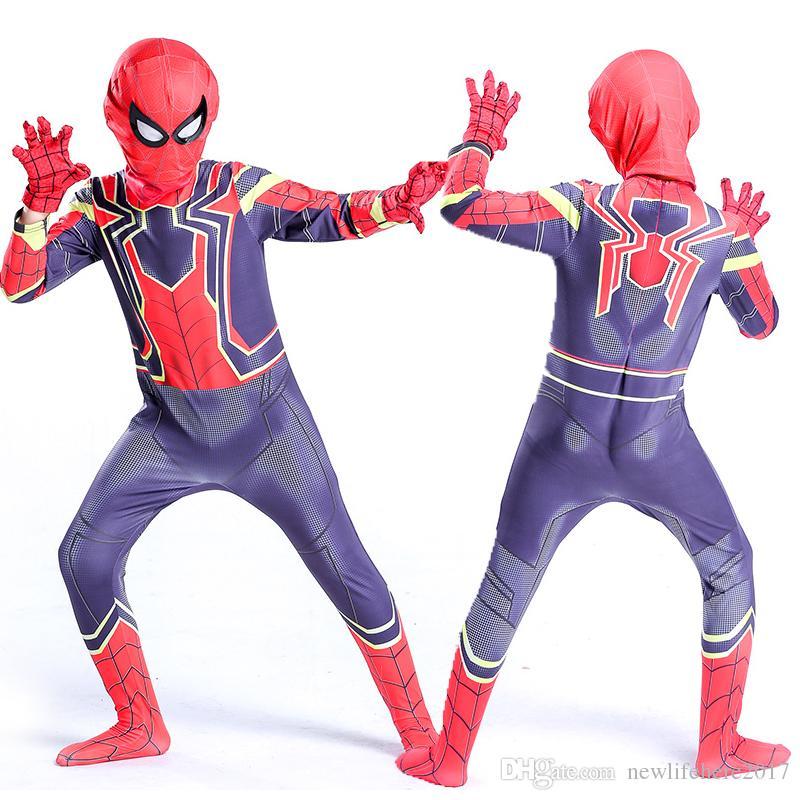 Sıcak Çocuklar spiderman Cosplay Cadılar Bayramı Cosplay Tam Vücut Irion Spiderman Kostüm Yetişkin Dijital Baskı Likra Kostüm
