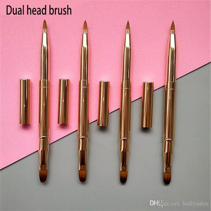 Metal Handle Makeup dual head Lip Brush Make Up Portable Lipstick Lip Gloss Adjustable Cosmetic Brush for Eyeshadow DHL