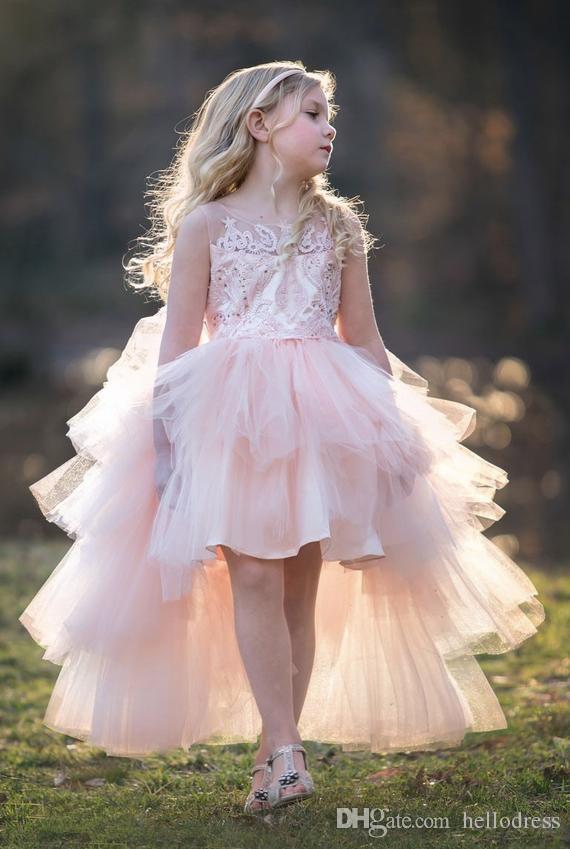 cd9e67349f8 Charming High Low Beaded Bodice Gilrs Party Dresses Sleeveless Tiered Tulle  Skirt Blush Rose Gold White Flower Girls Dresses Floral Flower Girl Dresses  ...