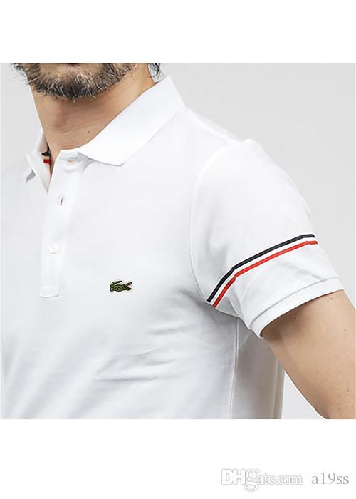 d79a2291f3 Compre Crocodilo Moda Marca De Luxo Tshirts Homem Bordado Poloshirts Verão  Mangas Curtas Camisa De Poliéster De Lapela Camisa De Algodão Para Mens Tee  ...