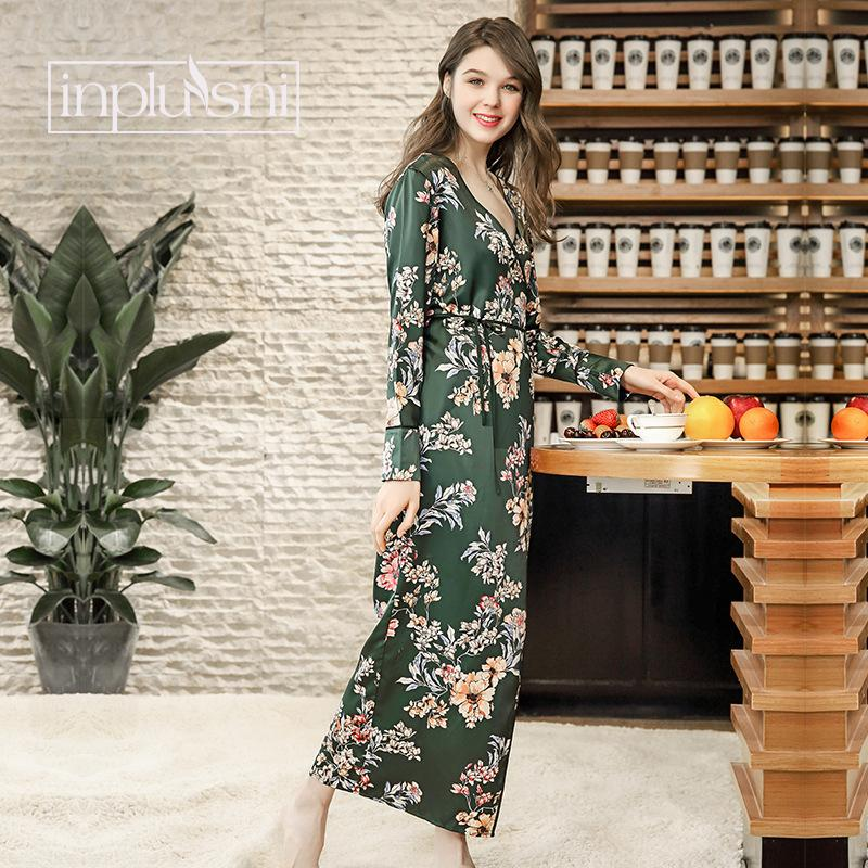 2019 Inplusni Women Robe Gown New Kimono Pajamas Women S Autumn Style Long  Yukata Tether Nightdress Female Slim Printed Dressing Gown From Jingju 21ca447f3