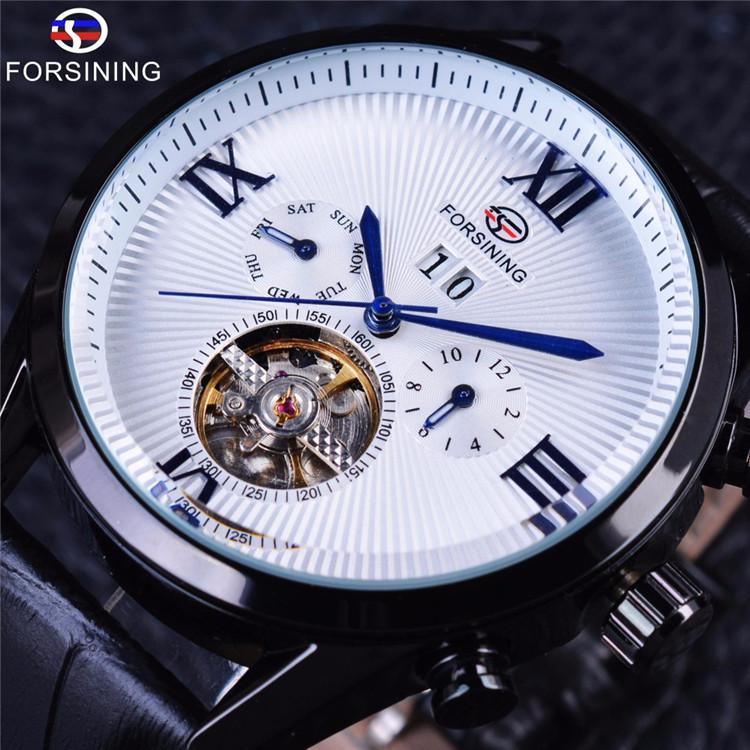 3fe7986d754 Compre Forsining Clássico Tourbillion Roman Número Branco Dial Calendário Mens  Couro Genuíno Assista Top Marca De Luxo Relógio Relógio Automático De  Lyfgood ...