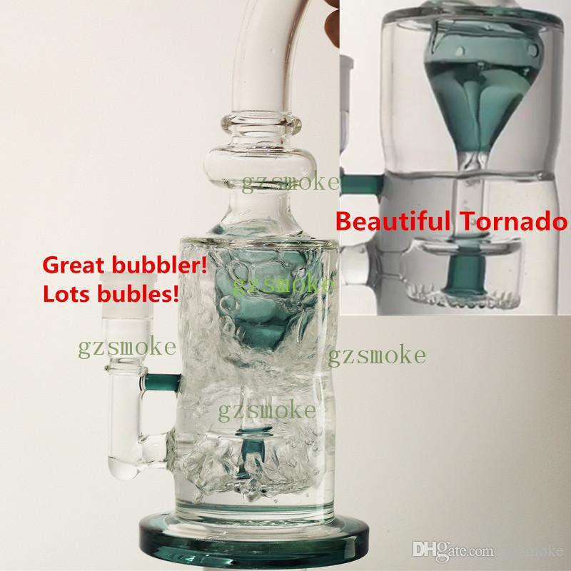 Tornado Glass Bong Dab Oil Rig Bowl Quartz Banger Water Pipe Perc Heady Bongs Rigs Pipes Thick Big Heavy Smoking Wax Hookahs Purple