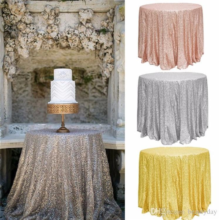 Grosshandel Grosse Gatsby Hochzeit Tischdecke Rose Gold Runde Und