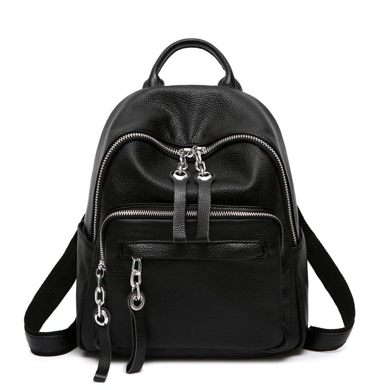 2f7607842daed Real Cowhide Gril School Daypack Rucksack Black Travel Bag Fashion Knapsack  Casual High Quality Genuine Leather Women Backpack Dakine Backpacks Back  Pack ...