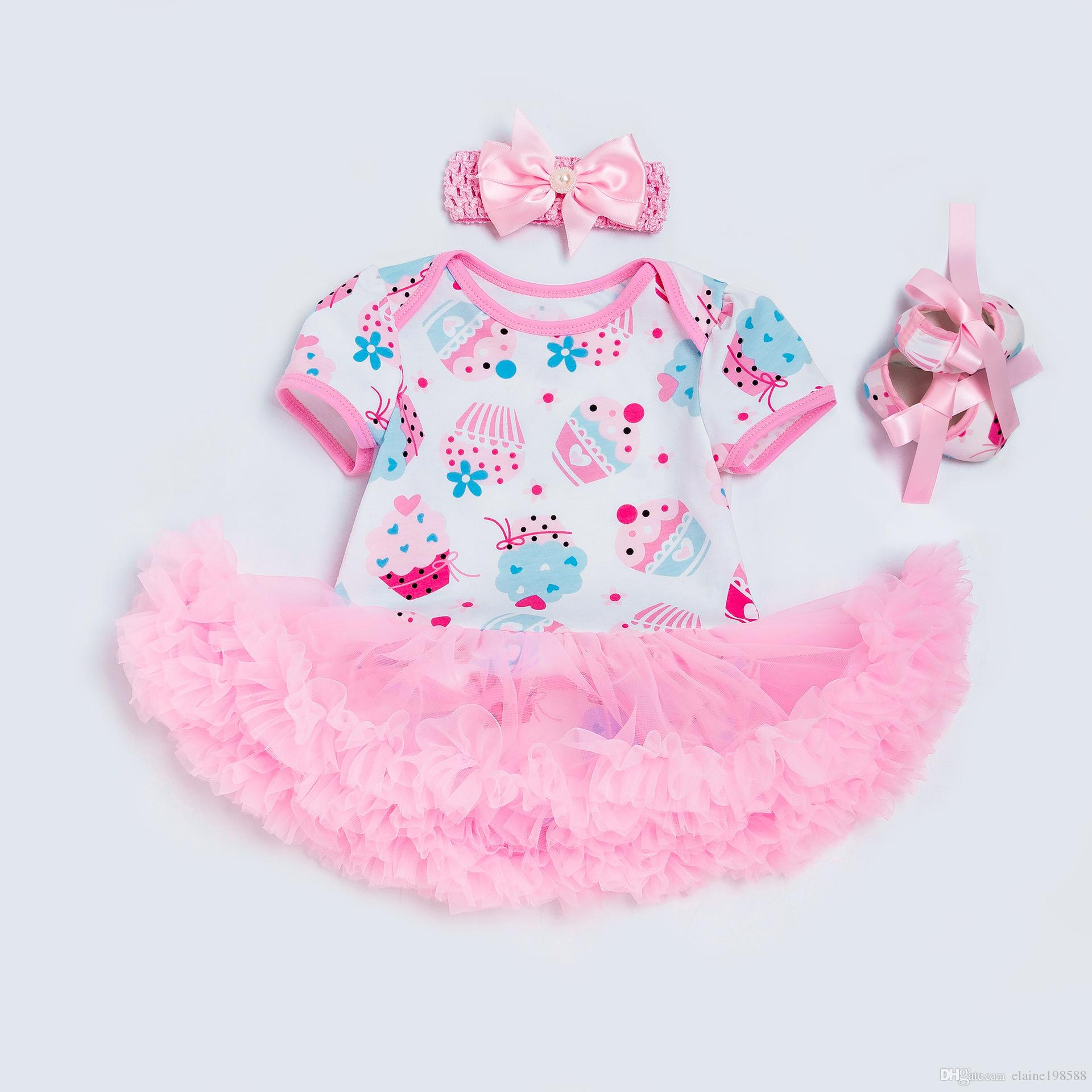 a81f82cf278 2019 Fashion Newborn Clothing Sets Short Sleeve Baby Girl Dresses Ice Cream  Rompers Tutu Dress+Shoes+Headband From Elaine198588
