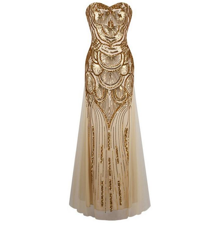 New Dress For 2018 Amazon Hot Style Long Gold Dress With Sequined ...