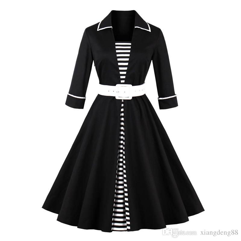 83be4355814 Autumn Winter Womens Striped Big Swing Dress Retro Vintage 50s Turn Down  Collar 3 4 Sleeve Rockabilly Party Dress With Belt New Dresses For Ladies  Discount ...