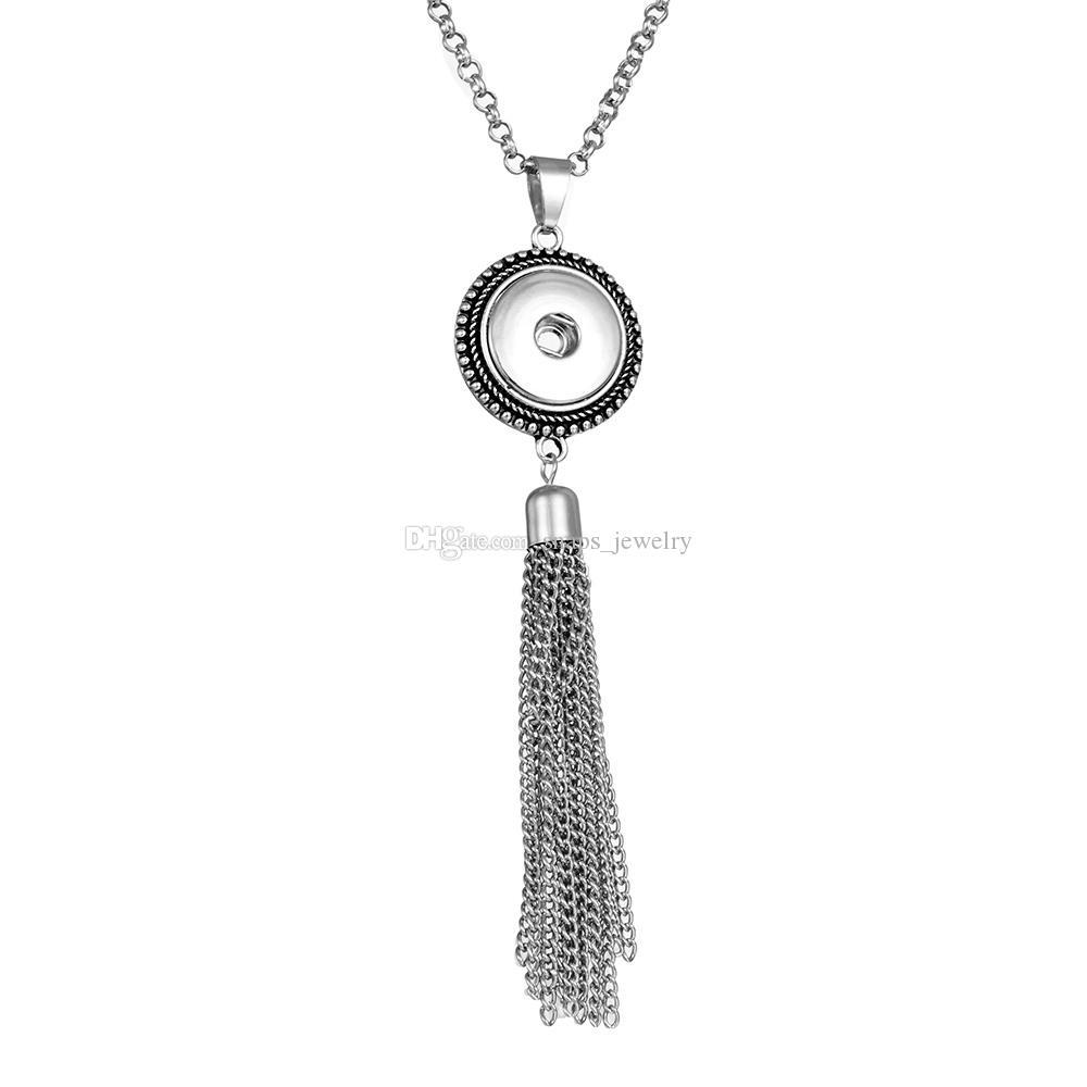 Klassische Noosa Chunks Ingwer Snaps Schmuck 18mm Druckknopf Quaste Aussage Halskette Für Frauen Druckknopf Schmuck