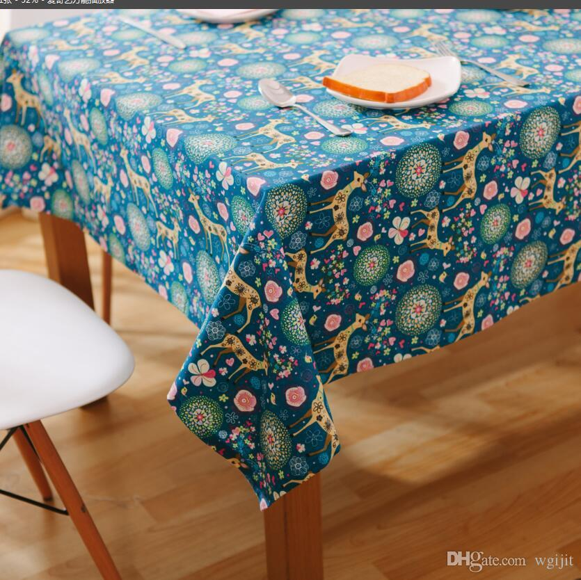 Handmade Blue Christmas Deer Cotton Linen Tablecloth New Home Gift Kitchen  Decor Dinner Table Top Cover Wedding Party Table Runner Plaid Tablecloths  Round ...