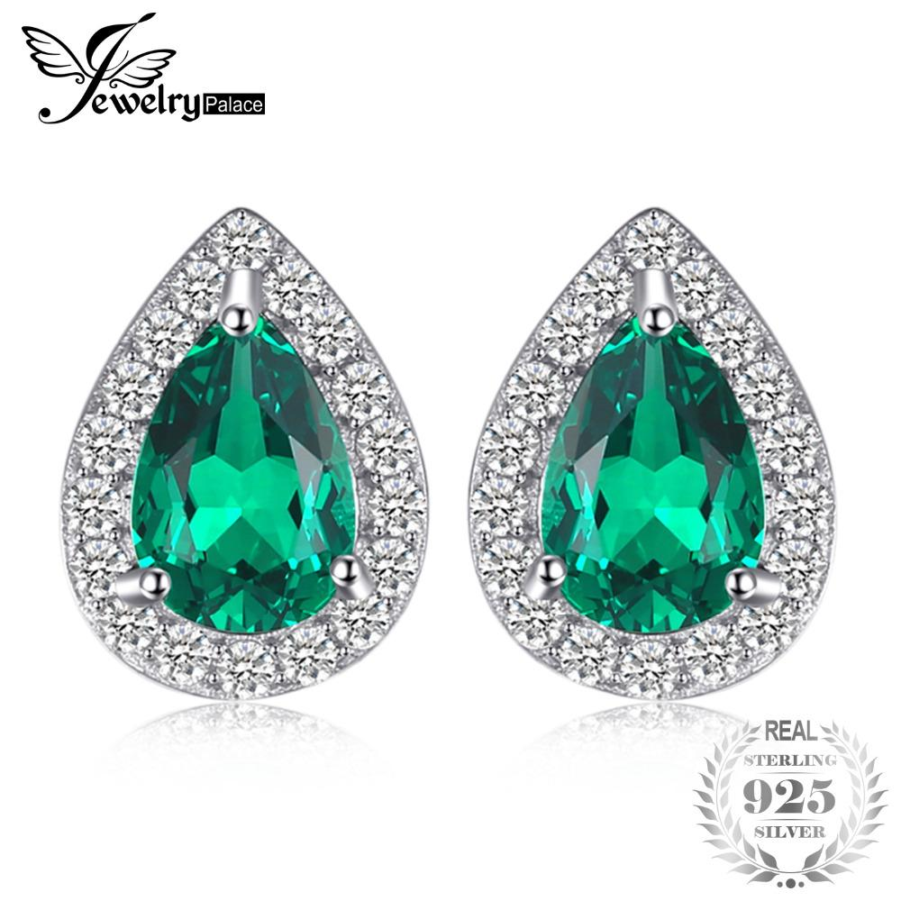 JewelryPalace 0.85ct Created Emerald Stud Earrings Charm 925 Sterling Silver Fine Jewelry 2018 Fashion Pear Earrings For Women