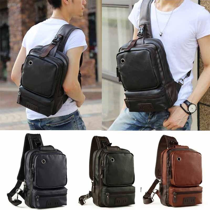 1b5b5479b6 Mens Leather Sling Backpack Shoulder Crossbody Cycle Unbalanced Bags Satchel  Laptop Messenger Bags Purses On Sale From Growthlonger