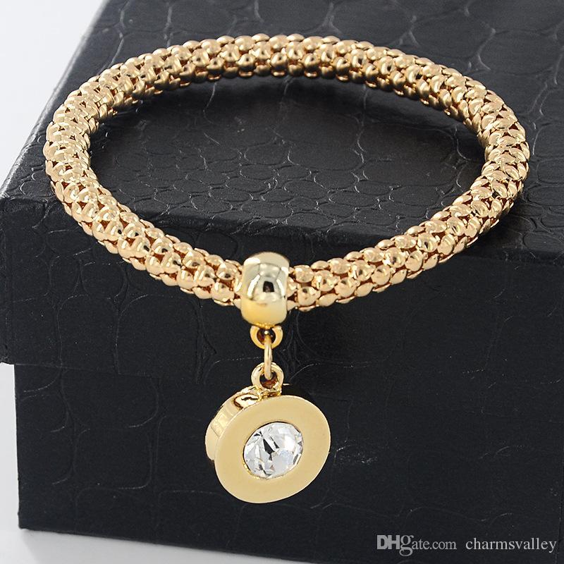 3 unids / set pulseras de enlace colgante de moda pulsera de cadena de palomitas de maíz de oro redondo rhinestone colgante pulseras del encanto pulseras para las mujeres