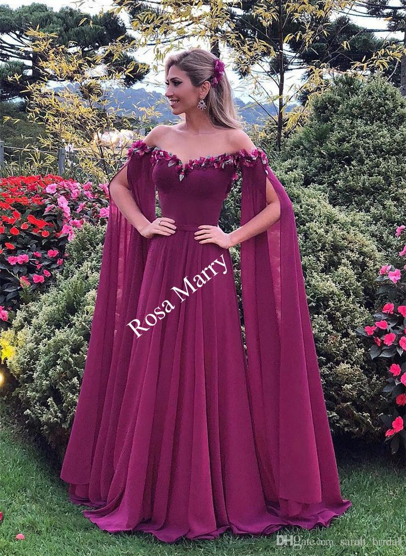 2018 Plus Size Long Sleeves Evening Dresses A Line Off Shoulder 3D Floral  Cheap Long Chiffon Kaftan Abayas Arabic Formal Prom Party Gowns 1920s  Evening ... fa7f7c16c