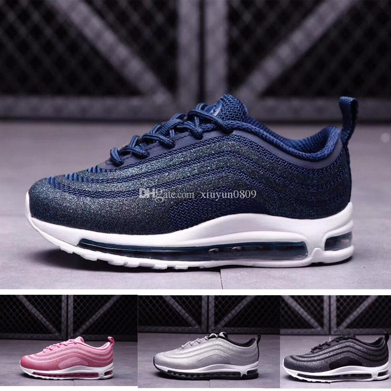 b223161df21 Acheter Nike Air Max 97 Chaussures Enfants Kids 97 Og Triple Blanc  Chaussures De Course Garçons Fille Metallic Gold Argent Bullet Rose  Chaussures De Sport ...