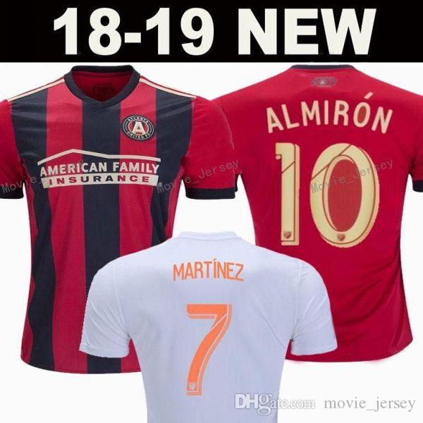 timeless design db4e6 d9c75 Atlanta United FC Men Red Home White Soccer Jersey Miguel Almiron Josef  Martinez Ezequiel Barco Hector Villalba Football Shirt Kit Patch