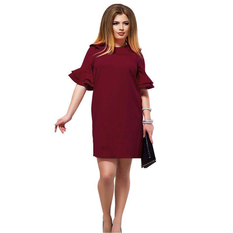 20187 Summer Women Plus Size Dress Fashion Elegant Wine Red Green ...
