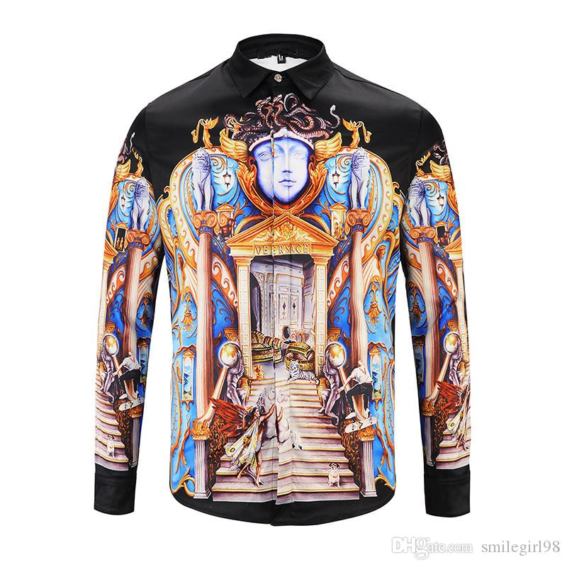 2018 italy luxury brand fashion men's long sleeve t shirt 3d printing casual business men shirts with tag