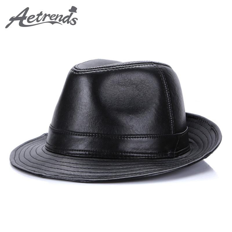 ff22312a2f685 AETRENDS 2017 New Winter 100% Leather Jazz Cap Panama Hats for Men Fedora  Hat Genuine Leather Fedoras Z-5486 Jazz Cap Leather Fedora Hats for Online  with ...