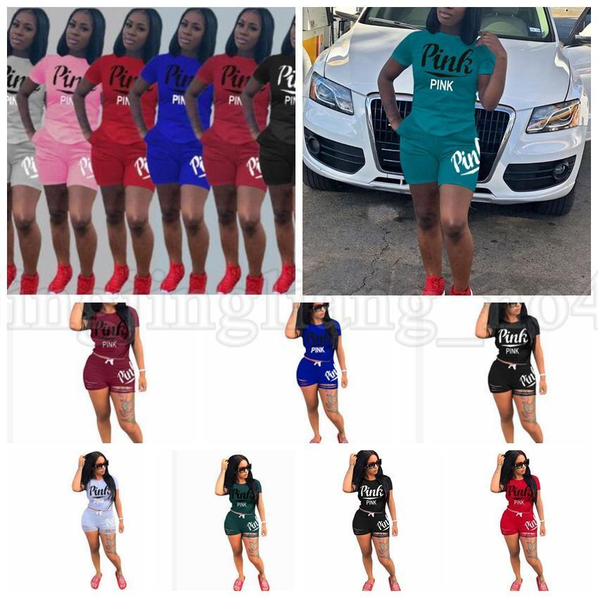 f367bf292bd6d 2019 2018 Pink Letter Print Set Tracksuit Women Plus Size Top And Pants  Casual Outfit Sweat Suits Two Piece Sportswear KKA5449 From Panthers