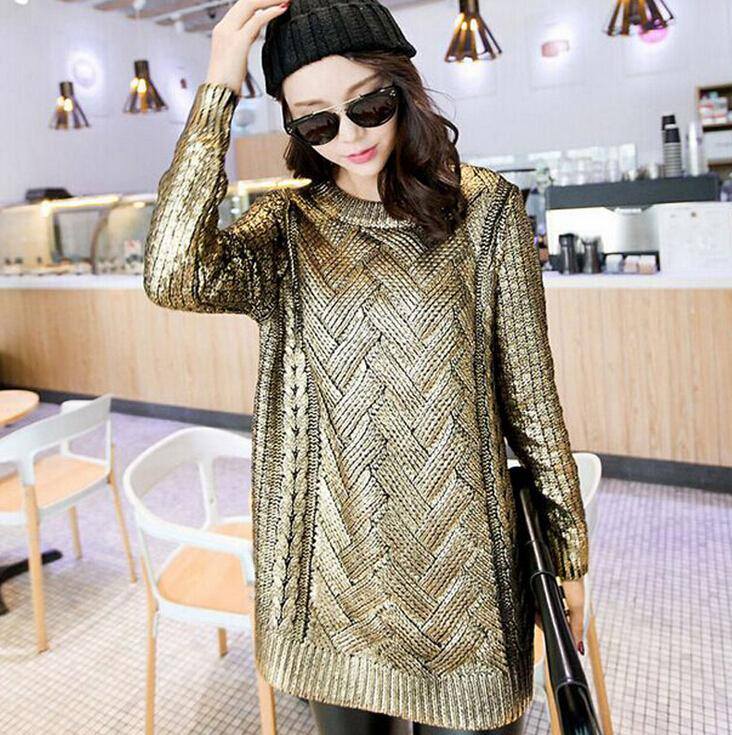 New 2016 Wildfox Women Sweater,Pullover Kintted Sweaters Kanuwa Loose Knitted Sweater Silver and Gold Bronzing Sweater For Women