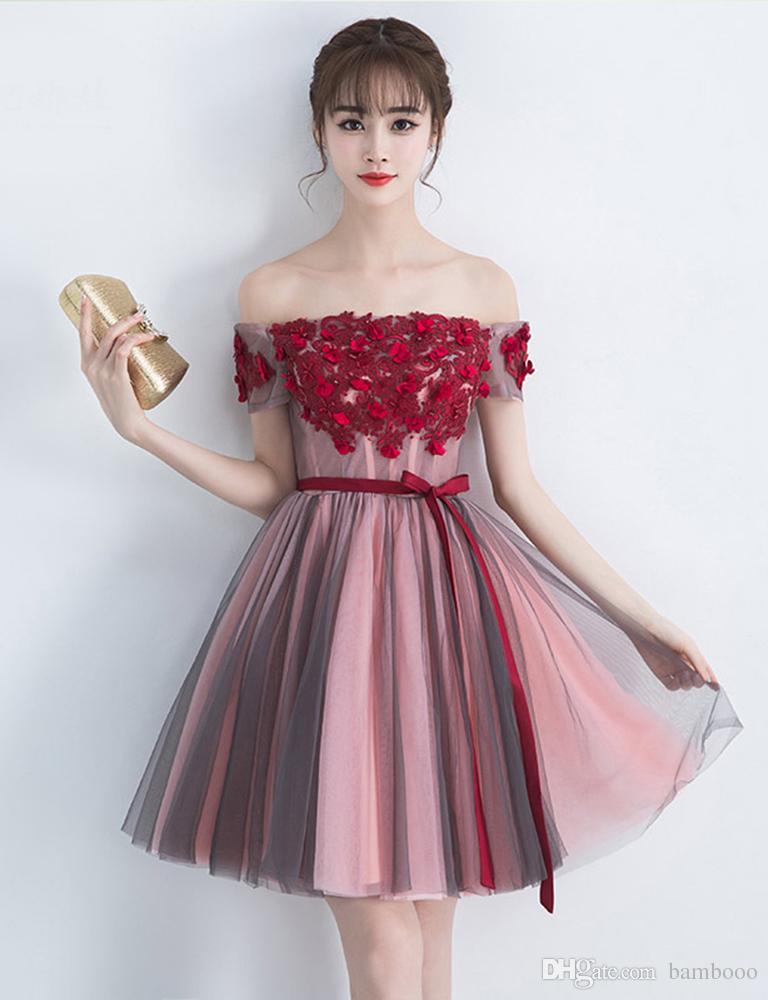 Sexy one-shouldered bridesmaid dresses petal stitching knee-length evening dress burgundy soft Fashion show dress for girl
