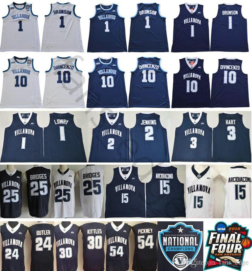 26ce199ad 2019 NCAA Villanova Wildcats  1 Jalen Brunson 10 Donte DiVincenzo 25 Mikal  Bridges Kyle Lowry Kris Jenkins Arcidiacono 3 Josh Hart College Jersey From  ...