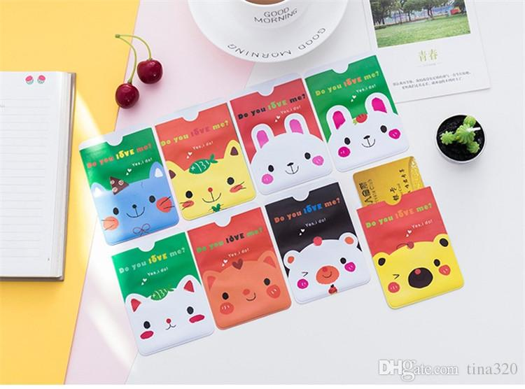 Hermosa tarjeta de bus animales del dibujo animado tarjeta bancaria funda protectora funda protectora tarjeta impermeable de plástico dispuestas T3D0077