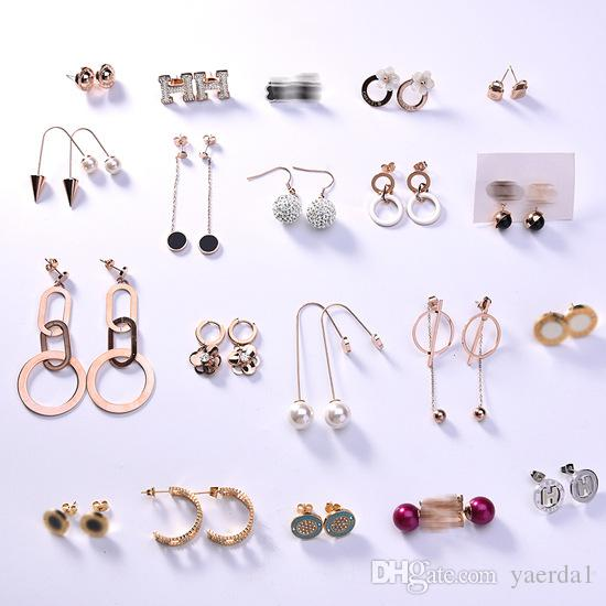 New Korean geometric long titanium steel earrings female wholesale black plate letter rose gold ear line manufacturers kendra scott chain