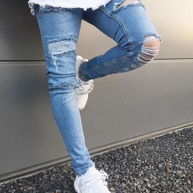 dc7bbf162b 2019 Skinny Jeans Men Summer Fashion Distressed Jeans Ripped Hole Biker Skinny  Slim Fit Denim Pants Light Blue Streetwear From Dreamcloth