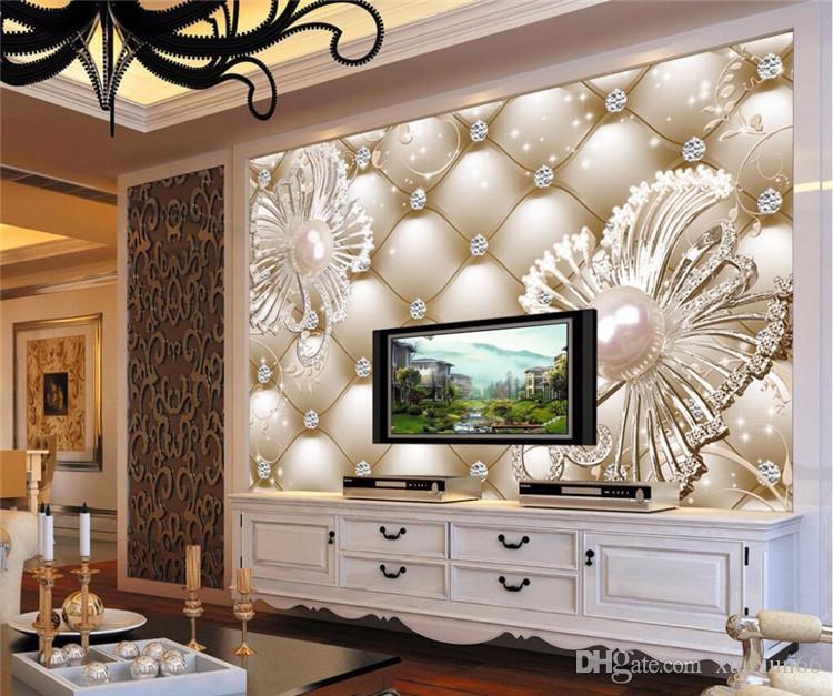 Wallpaper Mural Wall Sticker 3D Soft Bag Diamond Jewelry Flower Luxury Background Wall papel de parede