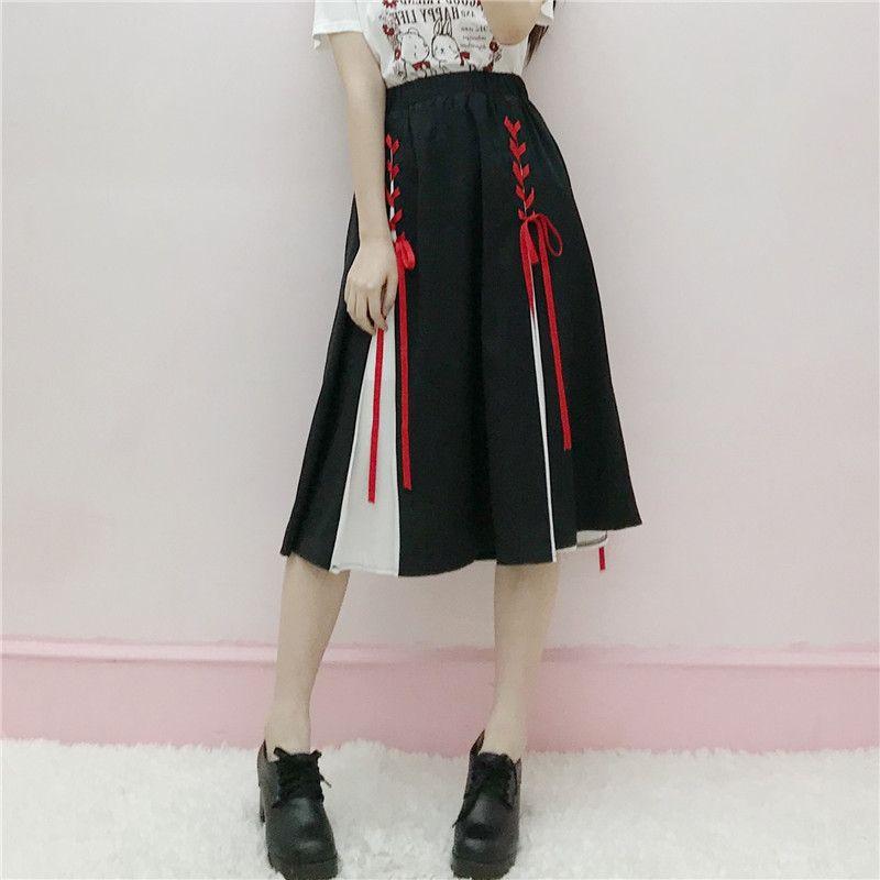 03be19487fa40c Jupe mi-longue noire blanche à lacets pour femmes Jupe mi-longue plissée  taille haute Lolita Faldas Saia Feminina