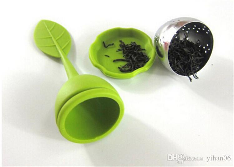 Aço Inoxidável Silicone Folha Solta Coador de Chá Colher Infusor Bola Filtro Bule com Bandeja de Gota de Ervas