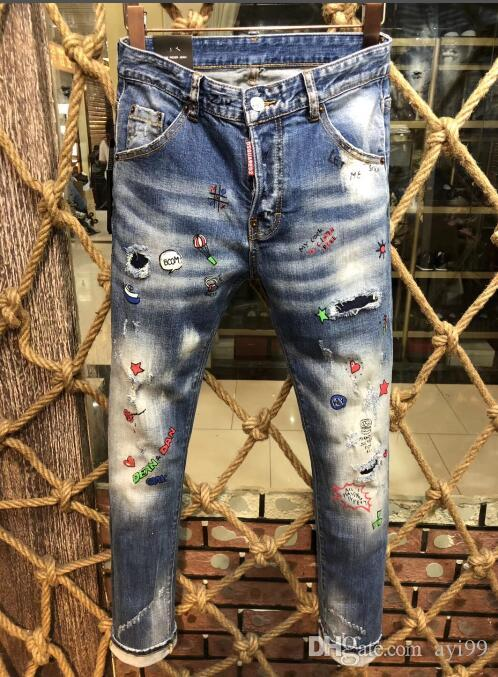325e45fb280dd Wholesale-Swag Mens Designer Brand Black Jeans Skinny Ripped ...