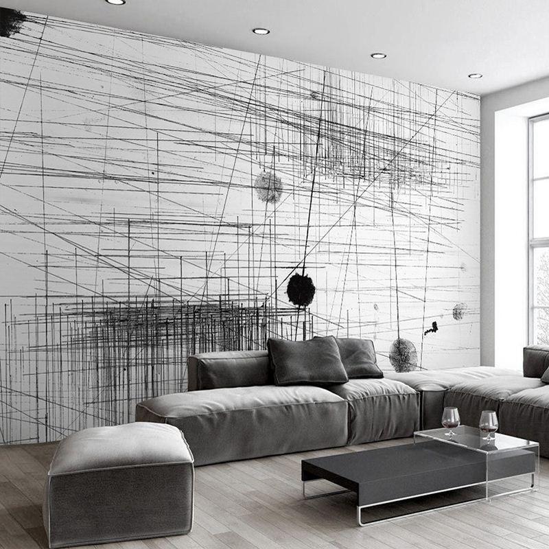 Acheter Papier Peint Mural Noir Blanc Rayures Lignes Art Abstrait ...