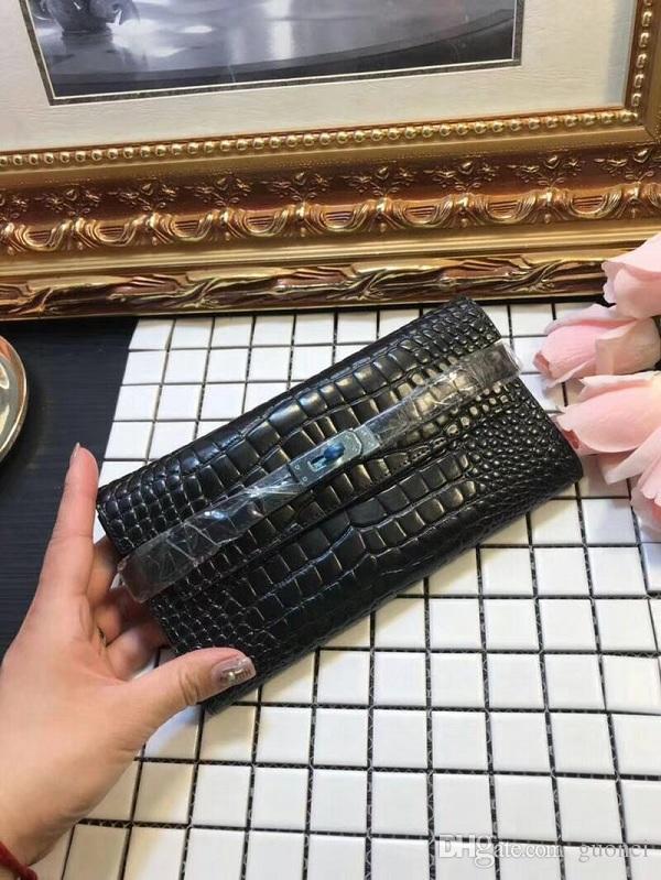 Top quality Brand design long wallet women's lock wallets Fashion purse Color Black&Grey carteira feminina size 20*10cm