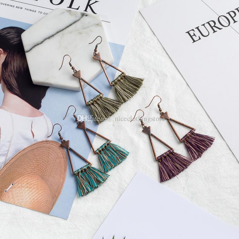 Vintage Retro Geometric Triangle Troddel-Tropfen-Ohrring-Frauen Damen Modeschmuck Sommer-böhmischer Charme Ethnic Ohrring