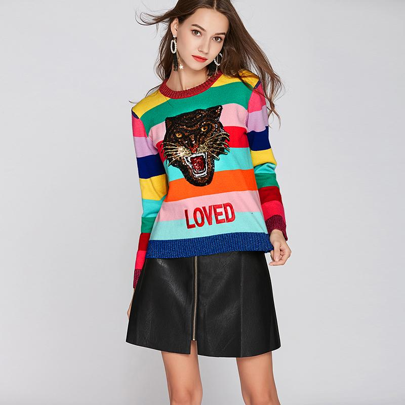 d0484a06cc 2019 Women Rainbow Pullovers Sweaters Femme Round Neck Emboridery Tiger  LOVED Colourful Striped Long Sleeve Sweater Winter Knitted From  Pulchritude