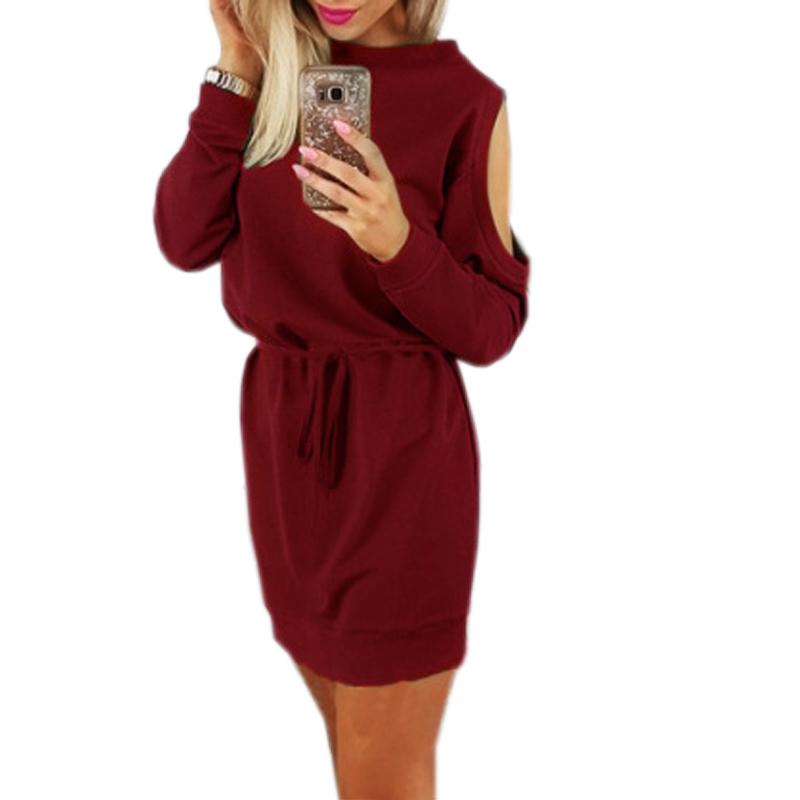 d93e0b23af8a Cold Shoulder Tunic Femininos Mini Dress Women Casual Long Sleeve Solid Wine  Red Winter O Neck Dresses Autumn Plus Size GV971 All White Maxi Dresses Off  The ...