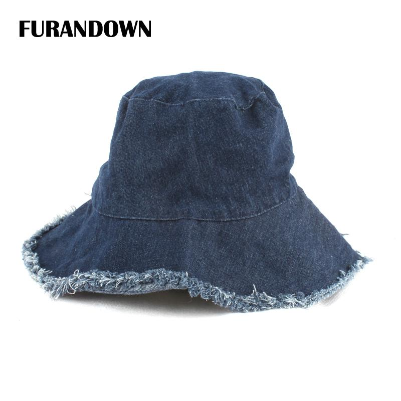 edf143522db Summer Washed Denim Sun Hat Women Fashion Tassel Floppy Bucket Cap Ladies  Wide Brim Beach Bucket Hats Chapeu Pescador Fishing Hat Wide Brim Fedora  From ...