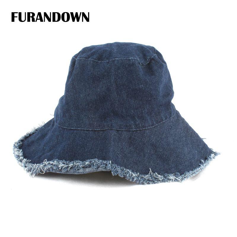 cea5f0fac453 Summer Washed Denim Sun Hat Women Fashion Tassel Floppy Bucket Cap Ladies  Wide Brim Beach Bucket Hats Chapeu Pescador Fishing Hat Wide Brim Fedora  From ...