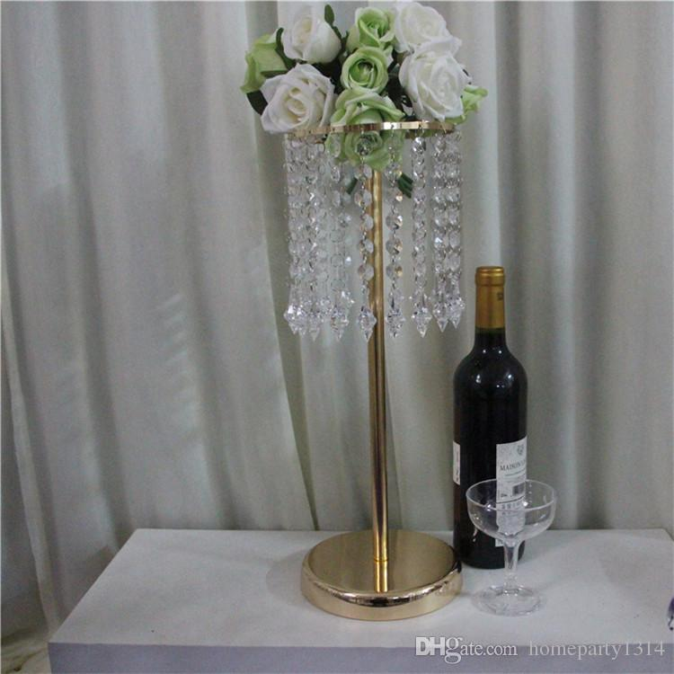 2019 crystal wedding table centerpieces decoration iron flower vase stand for christmas home party table decoration backdrops flower holder