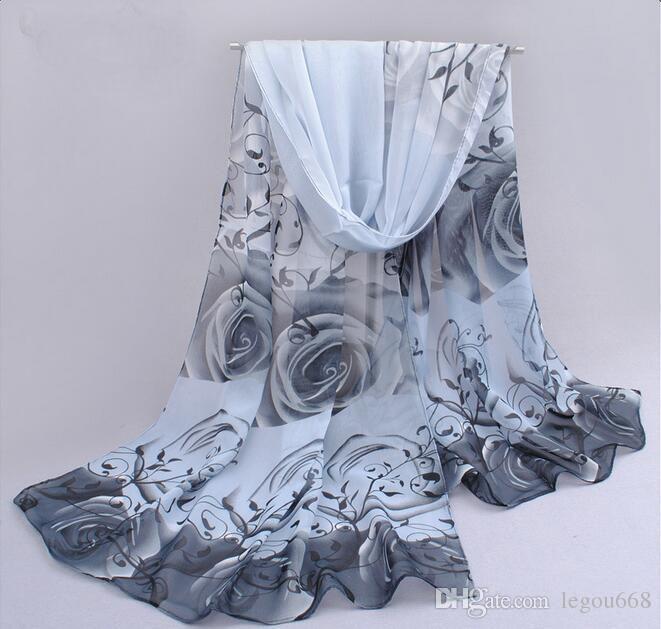 2018 rose imprimé mousseline de soie polyester écharpes femme mince châle turban ceinture hijab mode arabe écharpes wrap