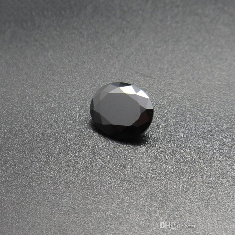Black Color Stone 8 Sizes 2*3mm-4*6mm Oval Machine Cut Cubic Zirconia Synthetic Loose Gemstone Beads For Jewelry Making