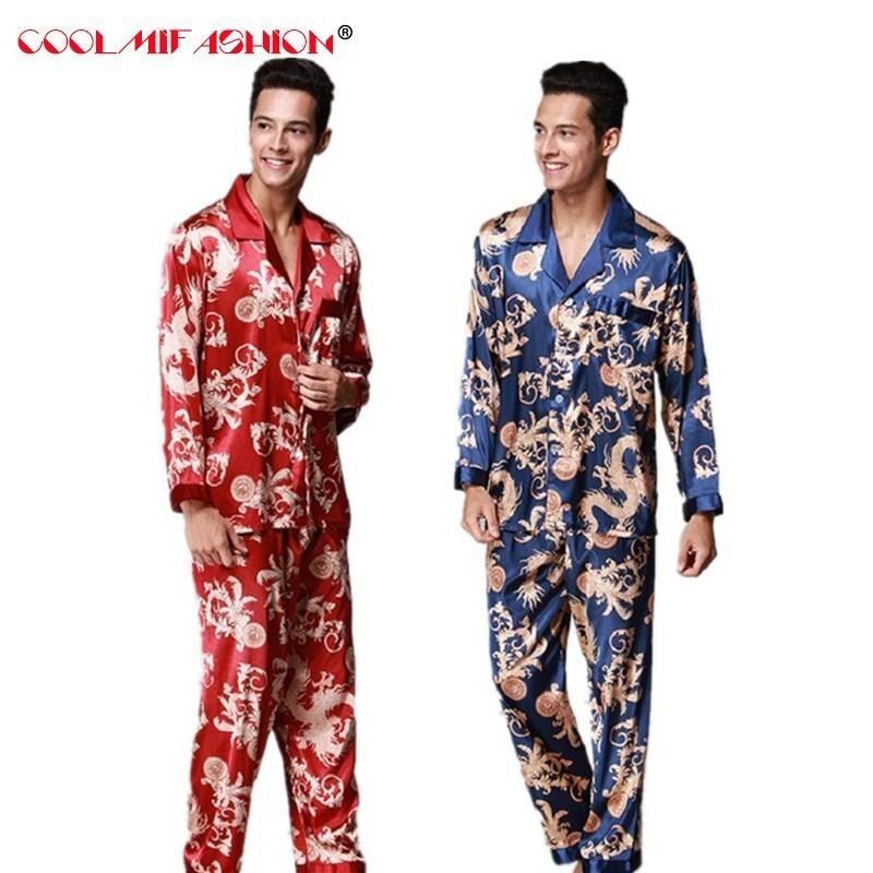 0d0fbe0524 Cheap Men Silk Like Pajamas Set Autumn Spring Pyjama Suit Full Sleeved  Chinese Traditional Printed Rayon Sleepwear + Long Pants Set