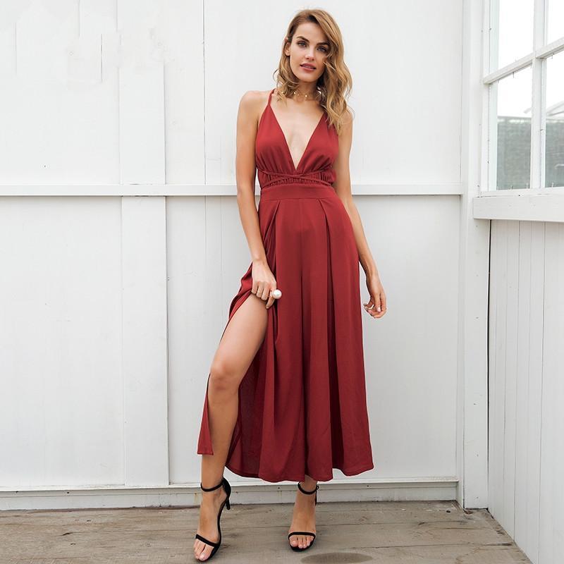dd351c4c4aaf 2019 Sexy V Neck Backless Print Jumpsuit Romper Women Lace Up Halter High  Waist Short Overalls Split Wide Leg Summer Denim Jumpsuit From Xinlangcom
