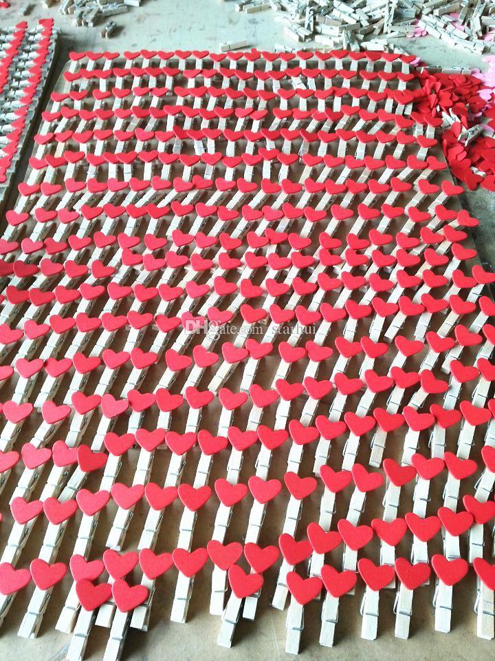 50 قطعة / الحقيبة البسيطة القلب الحب الملابس صورة ورقة الوتد دبوس الغسيل الحرفية مقاطع خشبية بريدية الزفاف الديكور المنزل WX9-265
