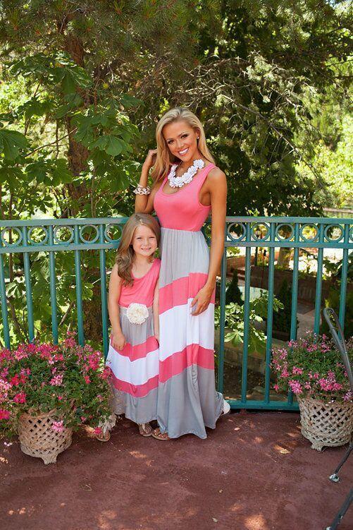 INS горячие мама и дочь наряды мама и я семья соответствия мать дочь платья без рукавов лоскутное длинное платье 5 стилей M047