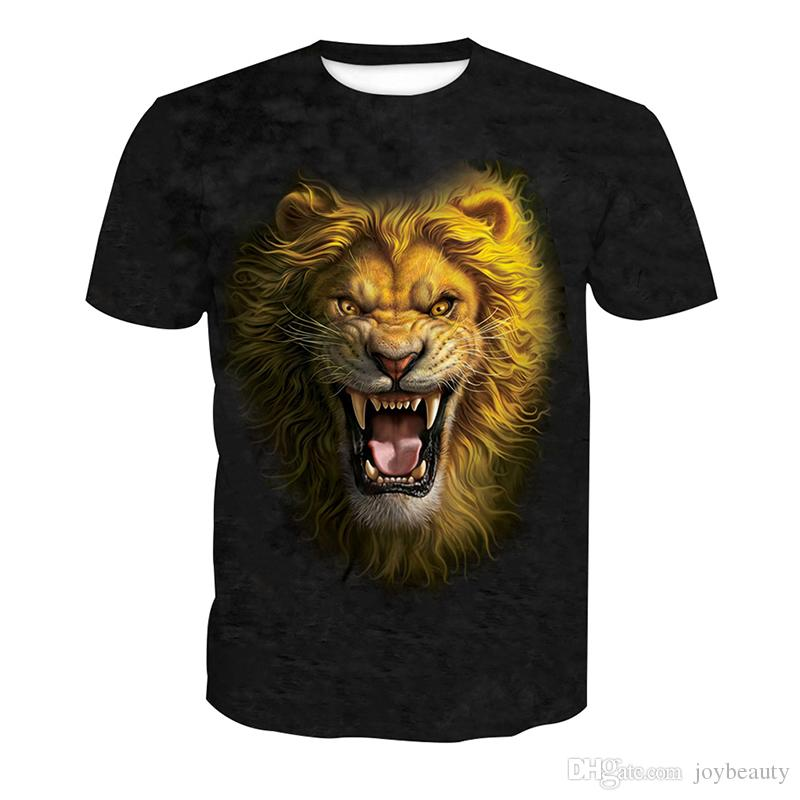756336bb973 Men T Shirt Lion 3D Full Print Man Casual Tops Unisex Short Sleeves Digital  Graphic Tee Shirt Tees T Shirts Blouse RLT 4107 Crazy T Shirts For Men  Cheap T ...