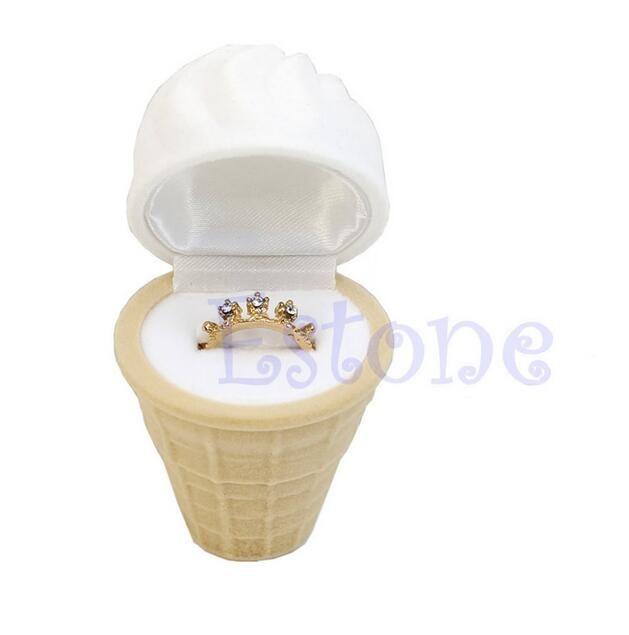 Trendy Flocking jewelry box Velvet Ice Cream Wedding Earring Ring Pendant Jewelry Display Box Gift Jewelry Packaging Case GA38